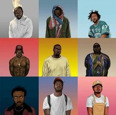 Hip hop/rap artist's cartoon illustration on top of gradient background. Dope Cartoons, Dope Cartoon Art, Black Cartoon, Black Girl Art, Art Girl, Black Girls, J Cole Art, Trill Art, Arte Hip Hop