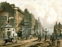 Shopping on Oxford Street: Painting of the view of Oxford Street from the Tyburn Turnpike gates. century buildings to the left, the road is dirt, the gates are wood bars. London Life, London Art, Old London, Liverpool Street, Oxford Street, London History, British History, Vintage London, Victorian London