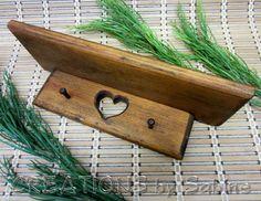 Small Wooden Wall Shelf, Key Rack, Dish Towel Hanger, Heart Cut Out, Vintage via Etsy.