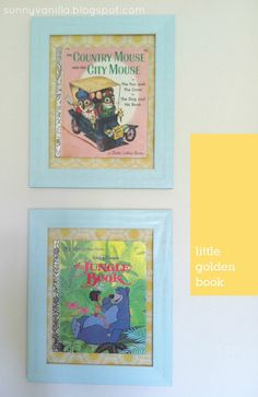 Sunny Vanilla: How to frame a book - A Little Golden Book May do this with Uncle Tony's book scenarios.