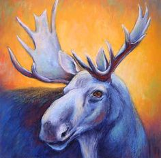 Blue Moose II - pastel moose painting - click to see larger image Deer Art, Moose Art, Blue Moose, Painted Rocks, Make Me Smile, Larger, Portraits, Pets, Painting