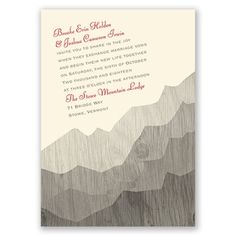 mountain themed wedding invitation with a pretty woodgrain background. So pretty!