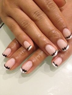 Pink shellac manicure with bows...definitely trying this :)