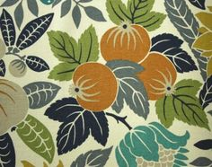 Copacabana Fabric Fruit and leaf printed cotton fabric in gold, green, teal and grey on cream