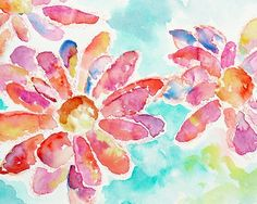 Colorful Floral Watercolor Art Print - 8x10 Picture - Happiness Is