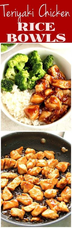 Quick and Easy Teriyaki Chicken Rice Bowls - sweet, garlicky chicken served with steamed broccoli and rice. This Asian chicken dinner recipe is better than takeout and made with just a few ingredients!