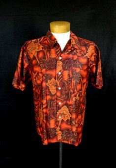 Vintage Kauai Red Polished Cotton Hawaiian Floral & Palm Tree Print Shirt-L-VLV #Kauai #Hawaiian #Doyoureallyneedone