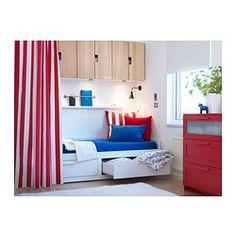 IKEA - BRIMNES, Diván+2cj+2clch, blanco/Malfors Firmeza: media., , Cuatro funciones en una: asiento, cama individual, cama doble y dos grandes cajones para almacenaje.El colchón de espuma ofrece un soporte y una comodidad óptimas a todo el cuerpo.