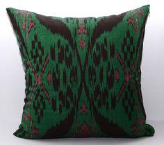 Uzbek Ikat, adras pillow case - natural handmade and traditional textile of Uzbekistan. The ornament displays rich vivid multicolored Uzbek traditional