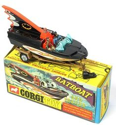 Corgi Toys Bat Boat with Figures of Batman and The Boy Wonder on Gold Trailer.