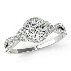 1/2 Ct Center Diamond Halo Engagement Ring by RavenFineJewelers