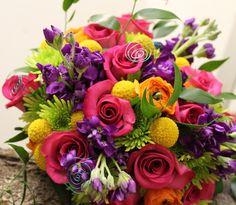 Bright color bridal bouquet Special Events, Floral Wreath, Bouquet, Bright, Wreaths, Rose, Flowers, Plants, Color