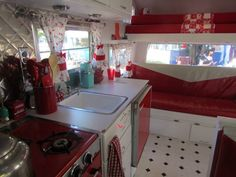 Vintage trailer interior - aqua and white. Description from pinterest.com. I searched for this on bing.com/images
