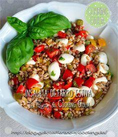 insalata di farro estiva, farro, peperoni, mozzarella, orecchiette di mozzarella, pomodori, basilico, cooking giulia