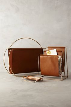 Saddle Ring Desk Collection - Magazine rack, Pencil Sling and File Folder - anthropologie.com