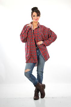 Vintage 90s grunge red plaid flannel shirt XL