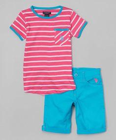 Loving this Pink Kite Stripe Tee & Blue Capri Pants - Infant, Toddler & Girls on #zulily! #zulilyfinds