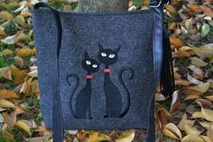 SUMMER SALE,Felt crossbody bag, black cats bag, Women felt bag, Cat bag, Felt shoulder bag, Embroidery, Cat design bag by BPStudioDesign on Etsy