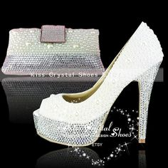 e50bddd2ee513f ivory court shoes ivory diamante shoes ivory by KissCrystalShoes. Handmade Crystal  Wedding Shoes   Bag · Crystal Shoes with Matching Clutch Bag