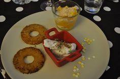 ananas rôti, glace coco, orange au gratiné de coco