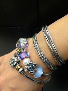 Authentic Pandora Bracelet with European Lampwork Murano glass Beads and Charms.