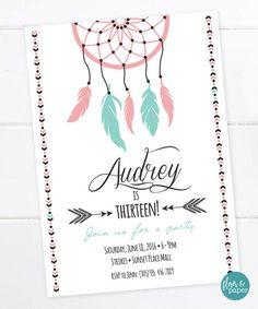 Boho Geburtstag Einladung, Aztec Tribal Einladung, böhmische druckbare Einladung Traum Fänger, Boho, Sweet 16, Teen Birthday, Tween