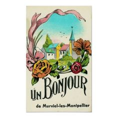 Vintage Travel Poster, Montpellier France by yesterdaysgirl