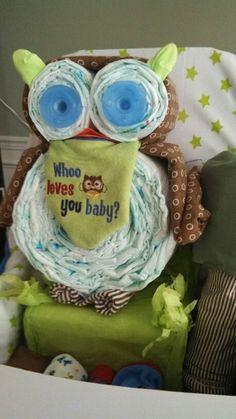 Owl diaper cake made by Sam!
