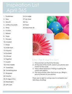 April 365 Idea List   CaptureYour365