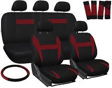 Car Seat Covers Red Black 17pc Set for Auto w/Steering Wheel/Belt Pad/Head Rests (Fits: Seat)