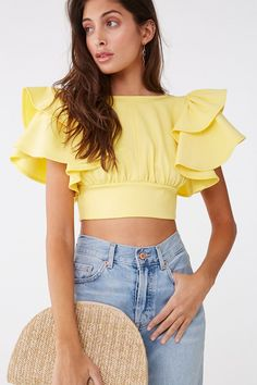 Forever 21 Tiered-Sleeve Tie-Back Crop Top Crop Top Outfits, Casual Outfits, Summer Outfits, Cute Outfits, Blouse Styles, Blouse Designs, Designs For Dresses, Crop Tops, Fashion Design