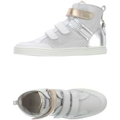 Hogan Rebel High-tops & Trainers ($340) ❤ liked on Polyvore featuring shoes, sneakers, white, white flat shoes, white sneakers, leather high tops, leather shoes and white leather shoes