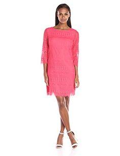 Ronni Nicole 3/4 Sleeve Fringed Lace Sheath Dress in Coral - http://www.womansindex.com/ronni-nicole-34-sleeve-fringed-lace-sheath-dress-in-coral/ #RonniNicole