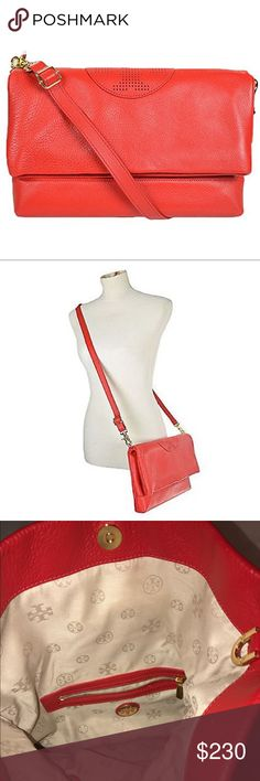 """Authentic Tory Burch Kipp Foldover Crossbody This beautiful Tory Burch Kipp Red leather Crossbody is made of pebbled leather. Wear as a shoulder or cross-body bag, or remove adjustable strap and carry as a clutch.   Measurements:  Approx. 12 1/4"""" x 7 3/4"""" x 1 3/4"""". 2"""" (L) x 14"""" (H) when not folded or 7"""" (H) when folded x 2"""" (W). Adjustable shoulder strap with approx. 18"""" drop.  Interior zip and slip pockets. Excellent condition 💋 Tory Burch Bags Crossbody Bags"""