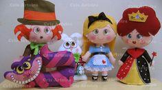 Bonecos Alice no País das Maravilhas confeccionados em feltro. <br>Altura dos bonecos varia entre 18 e 30 cm. <br>A Alice pode ser feita tanto morena qto loira.