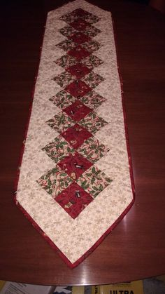 Christmas Table Runner Quilted Table Runner Red and Green