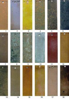 METALS FINISH GUIDE-(AB) Patina Metal, Bronze Patina, Patina Finish, Wood Siding, Exterior Siding, Wall Finishes, Metal Finishes, Metal Facade, Color Cobre