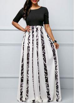 High Waist Black Stripe Print Dress on sale only US$33.60 now, buy cheap High Waist Black Stripe Print Dress at Rosewe.com