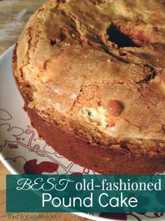 My grandmother's tried and true recipe for the BEST old-fashioned pound cake. No fail delicious and easy pound cake recipe. Pound cake is a dessert that will fit many occasions which makes it an all time favorite. Easy Pound Cake, Pound Cake Recipes, Best Pound Cake Recipe Ever, Cake Flour Pound Cake Recipe, Crunchy Top Pound Cake Recipe, Grandma's Pound Cake Recipe, Homemade Pound Cake, Butter Pound Cake, Almond Pound Cakes