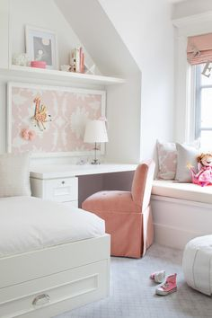 I love this room but there is no way an actual child could live in it. White rooms and children don't mix.
