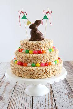 Easter Rice Krispies Treat Cake - Eighteen25