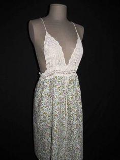 KIMCHI & BLUE Sz L Floral Crochet Bodice Dress Spaghetti Strap Lined Skirt