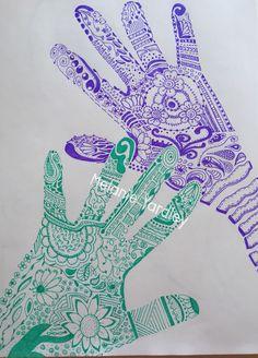 Doodle hands. #zendoodle Trace your hands!