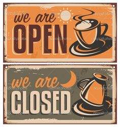 Retro door signs for coffee shop or cafe bar. Vintage metal signs creative template with coffee cup on rusty old texture. Creative vector design concept. - Stockillustratie: 39638639