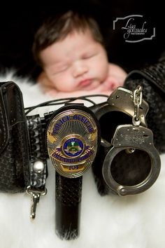 Newborn photography, police officer baby