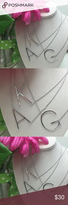 """Rhodium Plated Top Quality Sideways Initials,NWT These large initials are modern and very sophisticated. And GORGEOUS! Clear block font initials on a rhodium plated chain( which means it will last). Chain is adjustable from 18""""-20""""letters are approximately 2"""". Big, bold and clear and unique. Ask if you letter is in stock or we can special order for you.❤️Also in 14k gold plated. Price is FIRM! ZokyDoky Jewelry Necklaces"""