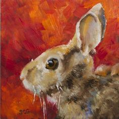 """""""Rabbit Study"""" - Original Fine Art for Sale - © Sue Churchgrant Year Of The Rabbit, Easter Pictures, Rabbit Art, Bunny Art, Watercolor Animals, Red Background, Animal Paintings, Beautiful Artwork, Landscape Art"""