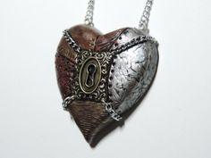 Large industrial steampunk heart necklace by xDonnaxthexDeadx, $30.00