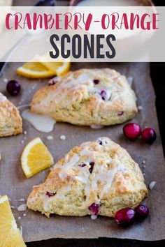Serve these cranberry orange scones for breakfast with a warm cup of coffee. Orange juice and orange zest add loads of flavor. Each bite is speckled with tart fresh cranberries. Cranberry Orange Scones, Orange Zest, New Year's Desserts, Dessert Recipes, Health Desserts, Plated Desserts, Vegan Candies, New Year's Food, Baking Recipes