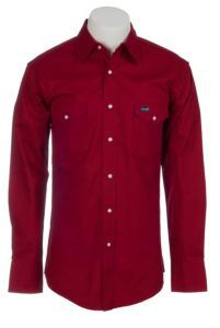 Work Shirt - Wrangler® Red Twill Long Sleeve Snap Workshirt